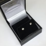 Preowned 18 carat yellow gold diamond single stone earrings