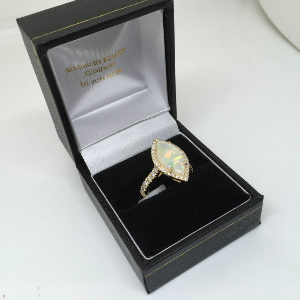 18 carat yellow gold opal and diamond ring