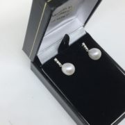 18 carat white gold freshwater pearl and diamond earrings