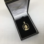 9 carat yellow gold St Christopher charm/ pendant