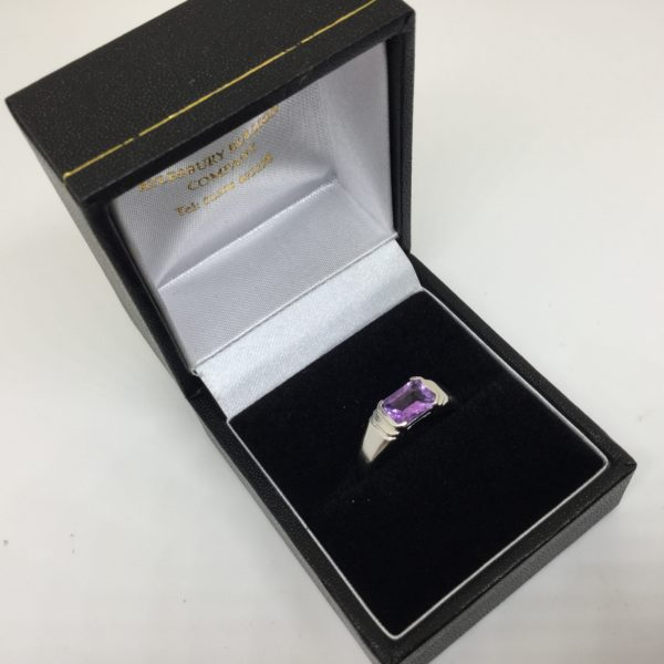 Preowned 9 carat white gold single stone amethyst ring
