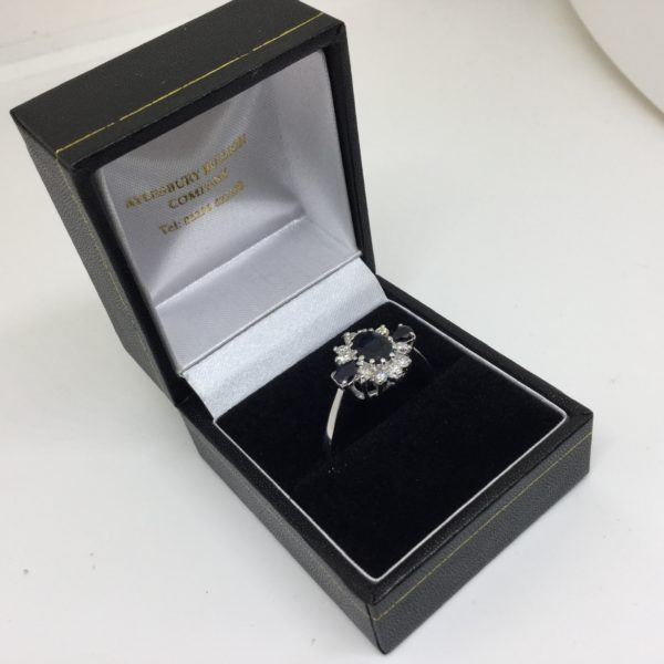 Preowned 18 carat white gold sapphire and diamond ring