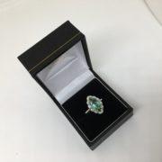 18 carat white gold green tourmaline and diamond ring