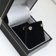 9 carat yellow gold diamond stud earrings