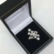 18 carat white gold fancy diamond cluster ring