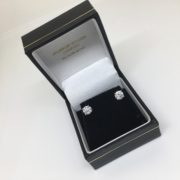 18 carat white gold single stone diamond earrings