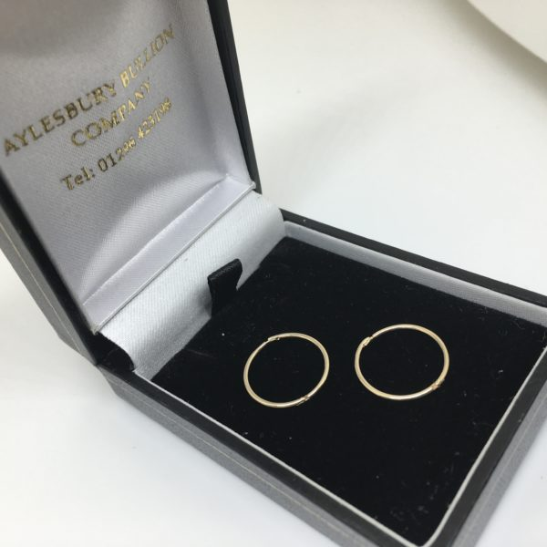 9 carat yellow gold hinged sleeper hoop earrings