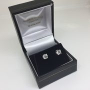 18 carat white gold diamond single stone stud earrings
