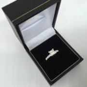 Preowned 18 carat white gold princess cut diamond ring