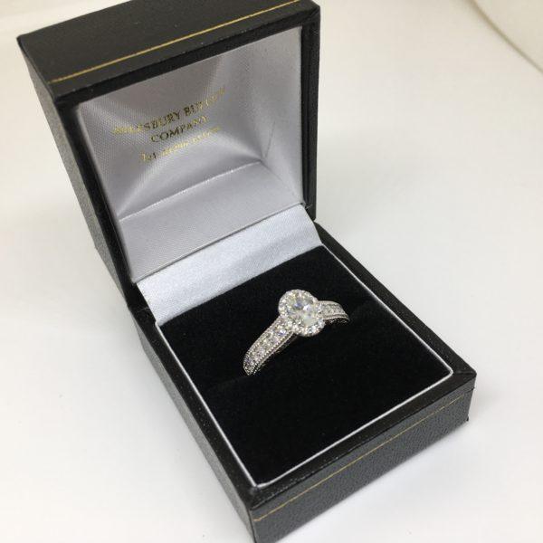 Preowned 18 carat white gold diamond Vera Wang ring