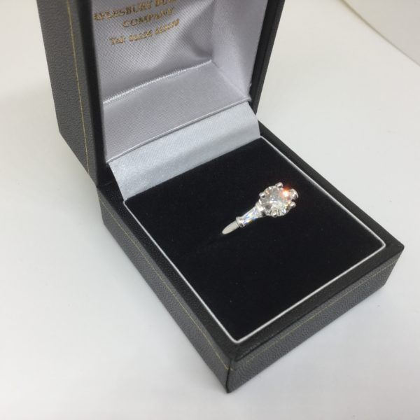 Preowned 18 carat white gold diamond single stone with shoulders