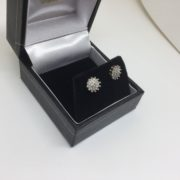 Preowned 9 carat yellow gold diamond cluster stud earrings