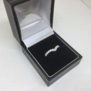 18 carat white gold diamond wishbone ring