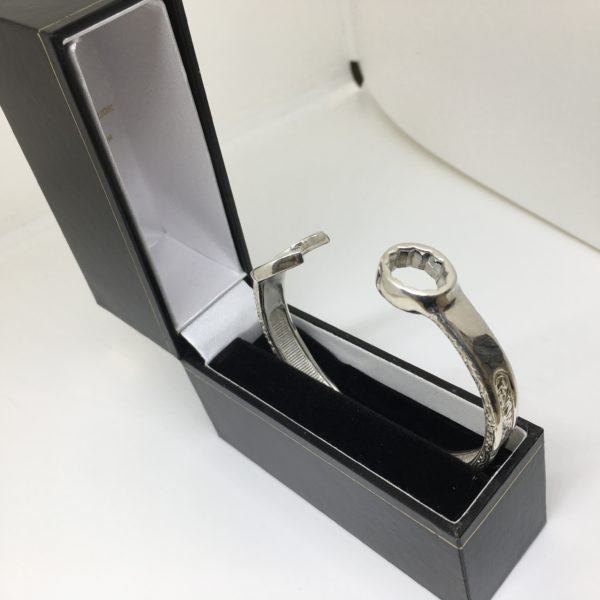 Sterling silver spanner bangle