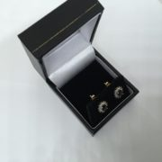 18 carat yellow gold sapphire and diamond stud earrings