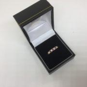 9 carat yellow gold amethyst and diamond band/ eternity ring