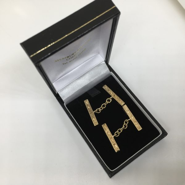 Preowned 9 carat yellow gold chain link cufflinks