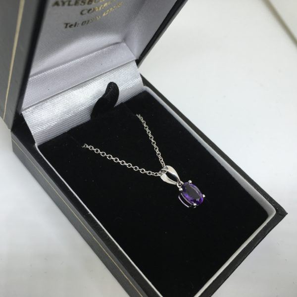 9 carat white gold amethyst pendant and chain