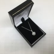18 carat white gold diamond cluster pendant and chain