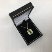 9 carat yellow gold peridot and diamond pendant and chain