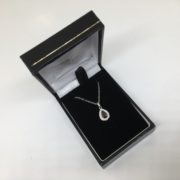 9 carat white gold ruby and diamond pendant and chain