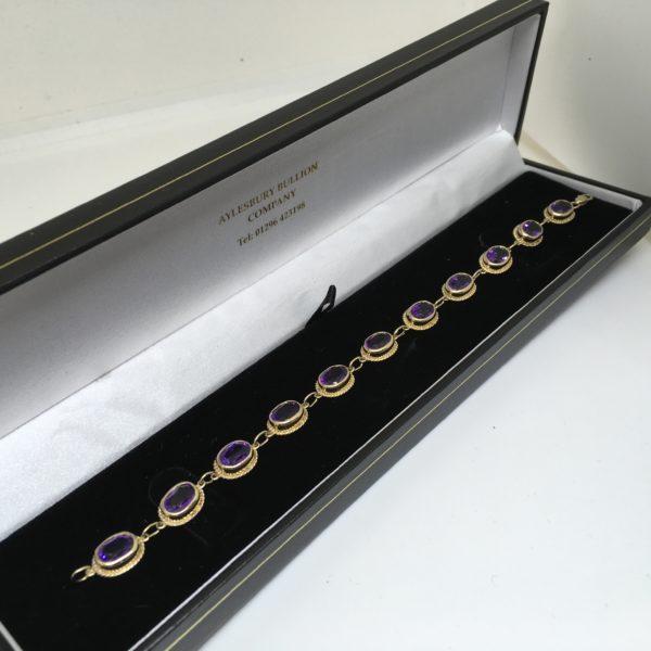 Preowned 9 carat yellow gold amethyst bracelet