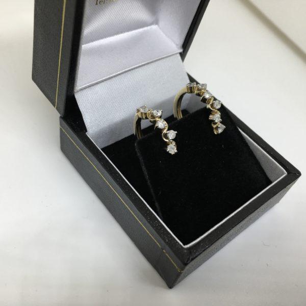 Preowned 9 carat yellow gold diamond hoop earrings