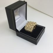 Preowned 9 carat yellow gold 5 row keeper ring