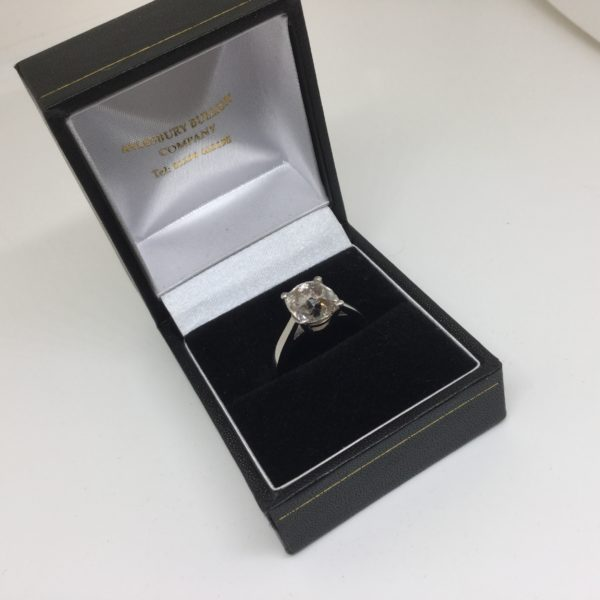 Preowned platinum and diamond single stone ring
