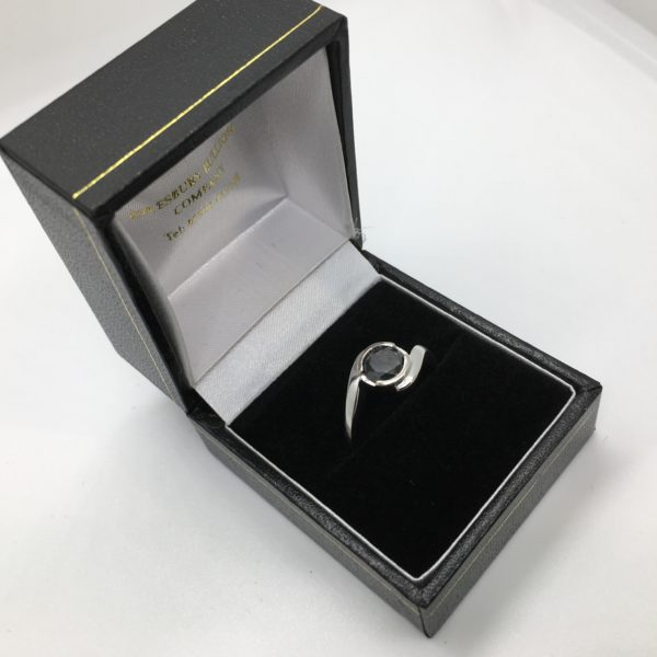 Preowned 18 carat white gold single stone black diamond ring
