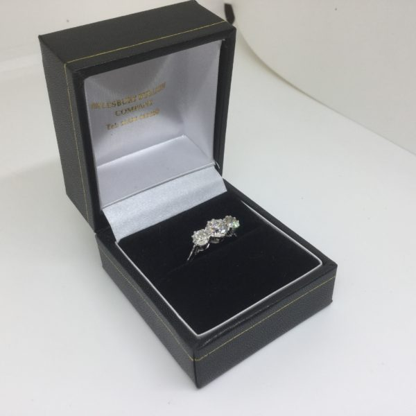 Preowned platinum and diamond 3 stone ring