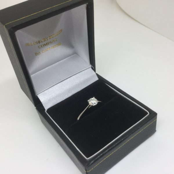 18 carat white gold single stone diamond ring