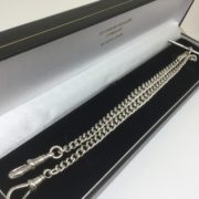 Preowned sterling silver double Albert chain