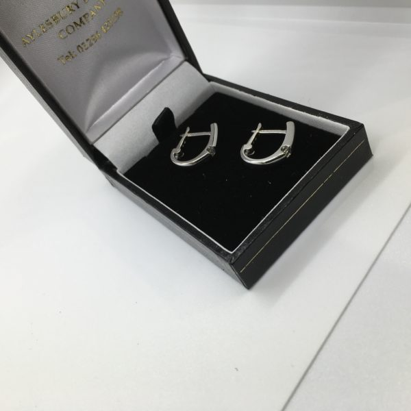 Preowned 18 carat white gold diamond hoop earrings