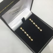 Preowned 9 carat yellow gold cubic zirconia drop earrings