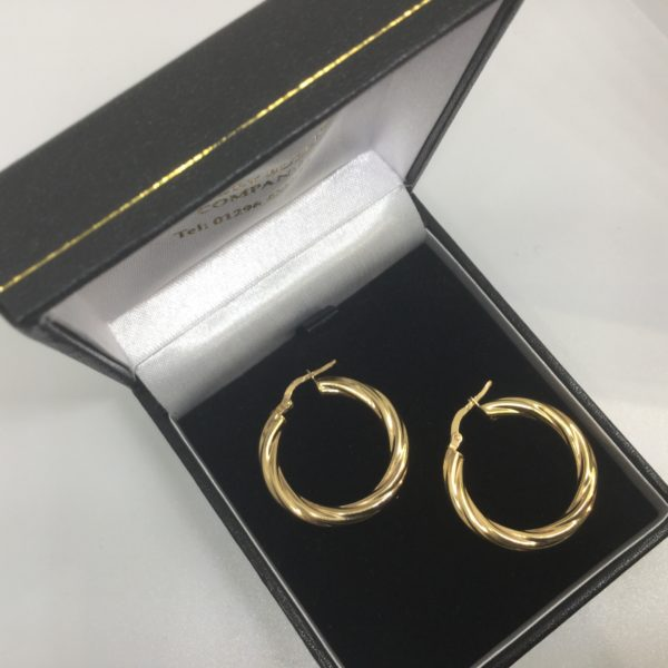 Preowned 9 carat yellow gold twist hoop earrings