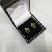 Preowned 9 carat yellow gold emerald stud earrings