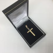 9 carat yellow gold solid cross pendant