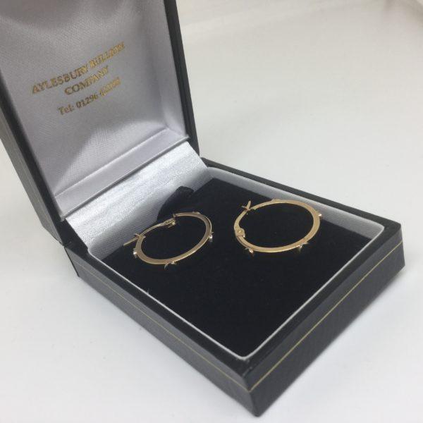 Preowned 9 carat yellow gold hoop earrings