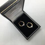 Preowned 9 carat yellow gold heart hoop earrings