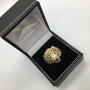 Preowned 9 carat yellow gold ruby set lion ring