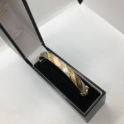 Preowned 9 carat 3 colour hinged bangle