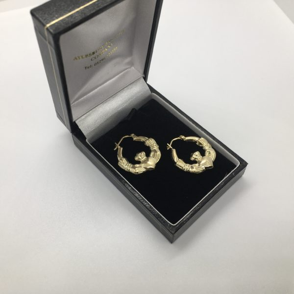 Preowned 9 carat yellow gold cladder hoop earrings