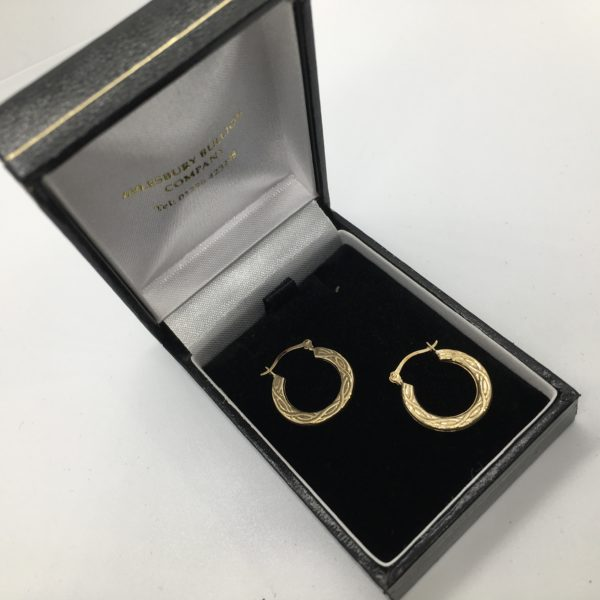 Preowned 9 carat yellow gold patterned hoop earrings