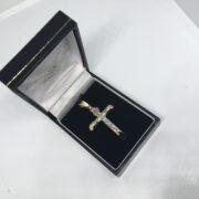 9 carat two colour crucifix pendant