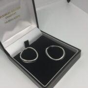 Preowned 9 carat white gold hoop earrings