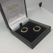 Preowned 18 carat yellow gold diamond hoop earrings