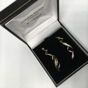 Preowned 9 carat yellow and white gold drop earrings