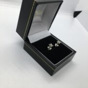 Preowned 18 carat white gold single stone diamond stud earrings