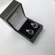 9 carat yellow gold amethyst and diamond earrings